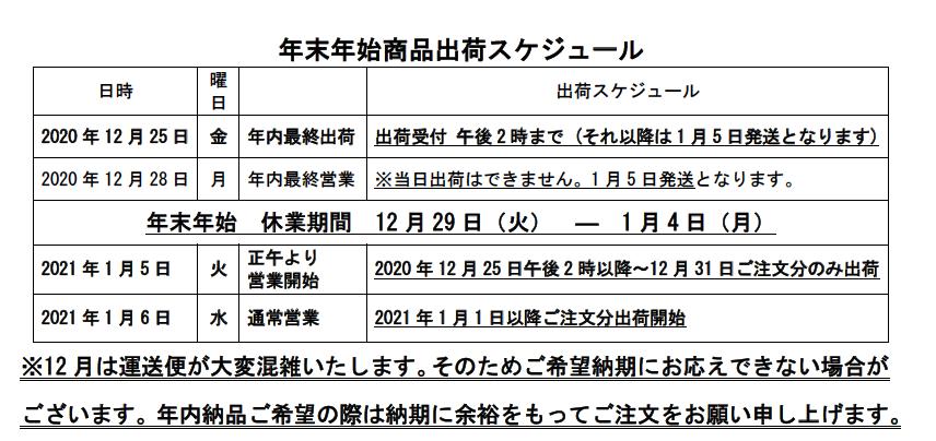 配送スケジュール2020